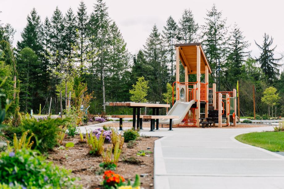 Children's play structures are found throughout the master-planned community