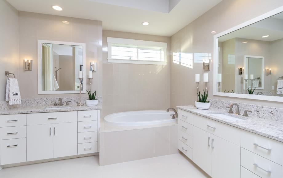 Primary bathroom with dual vanities and separate bathtub