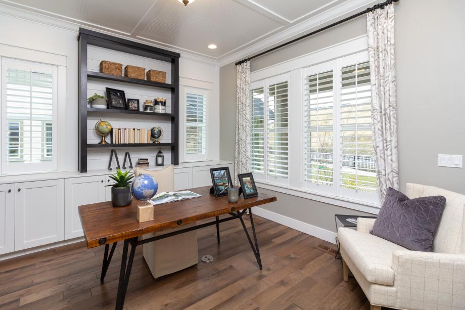 Quiet home office with large windows for plenty of natural light