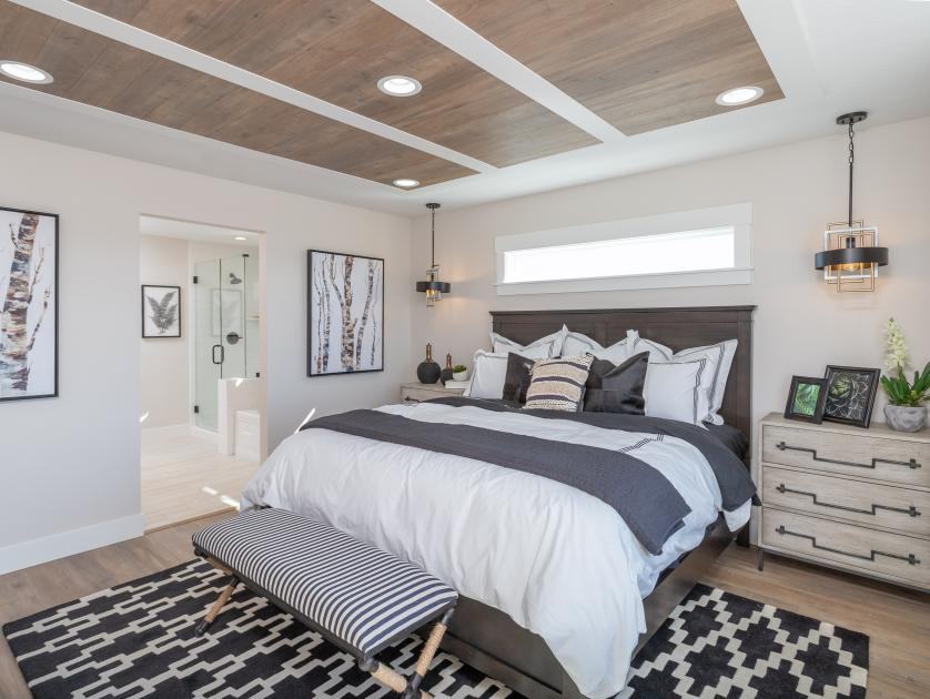 Primary bedroom suite with sizable walk-in closet