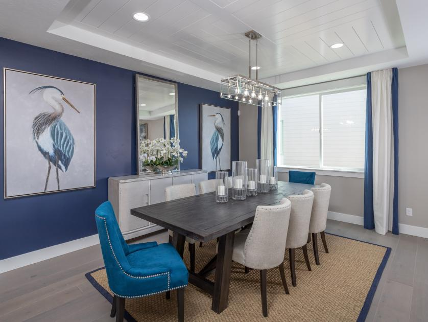 Large dining area with designer lighting
