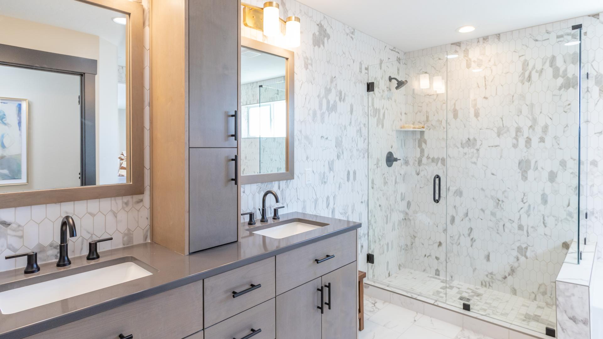 Primary bathroom with full-tiled shower