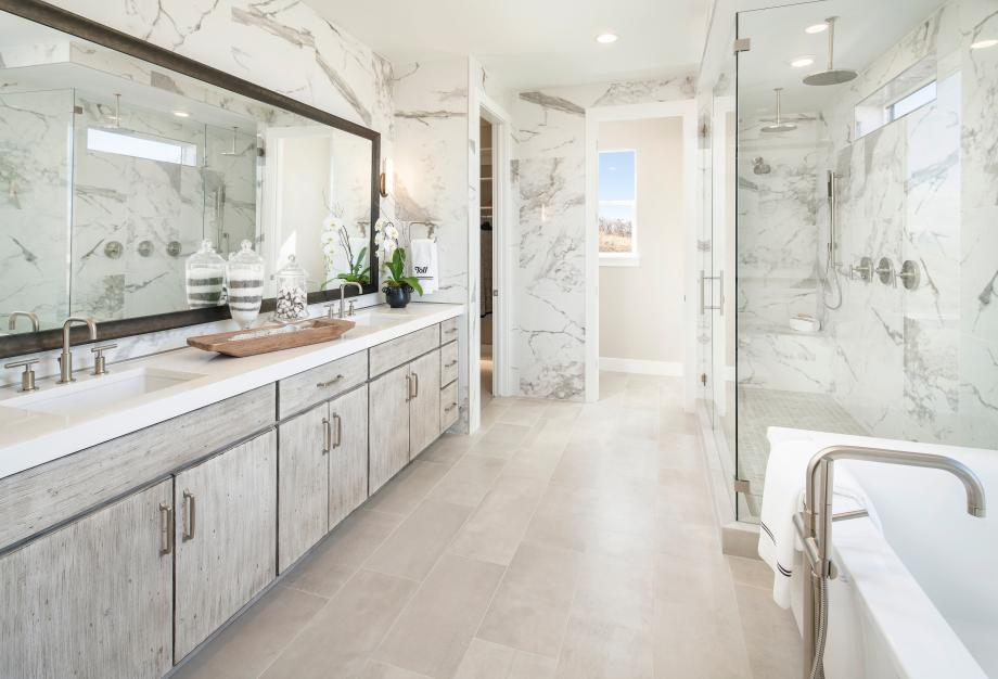 Lavish primary bathroom with large dual-sink vanity, walk-in shower and freestanding tub