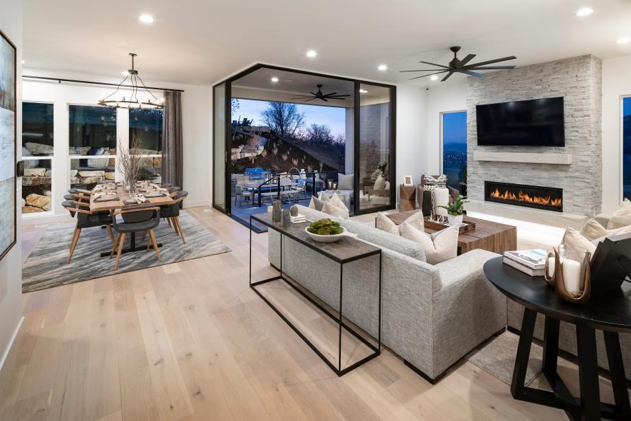 Open concept great rooms with cozy fireplaces and beautiful views of the outdoors