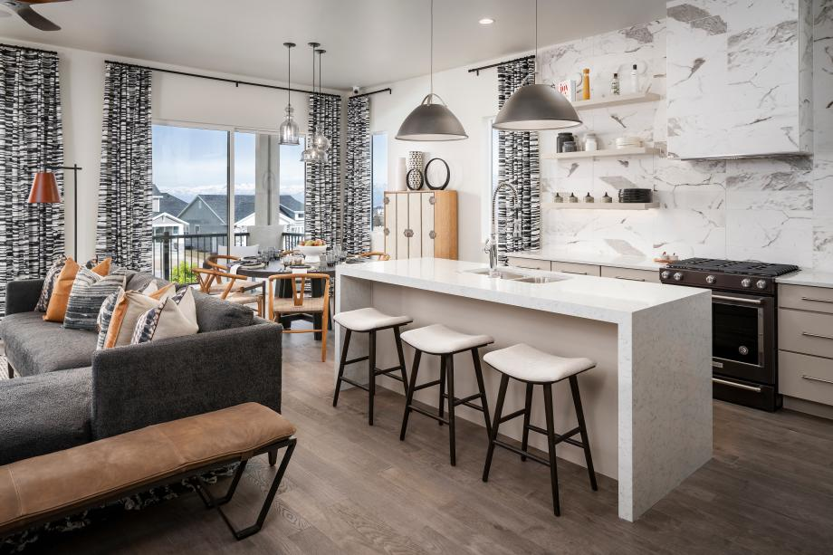 Beautiful kitchen with ample countertop space and casual dining areas