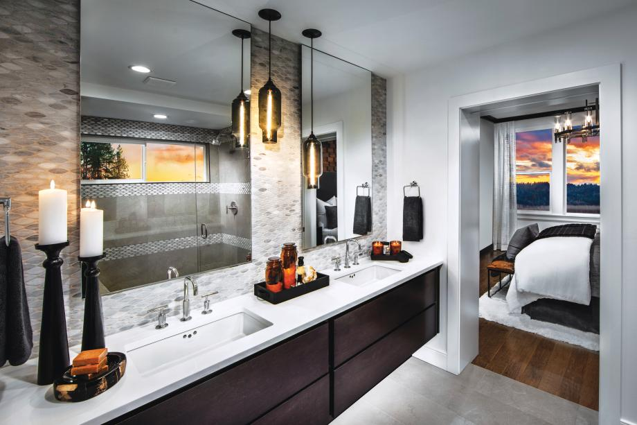 Luxe primary bath features dual sink vanity, walk-in shower, and a separate water closet