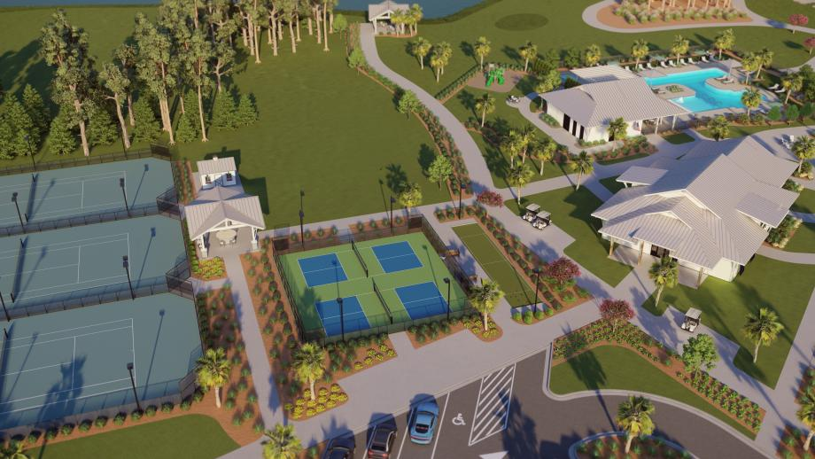 Community pickleball courts, tennis courts, community pool, and more
