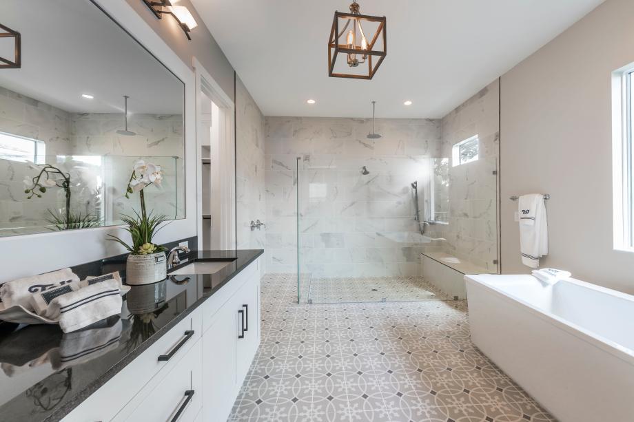 Luxurious primary bathroom suites