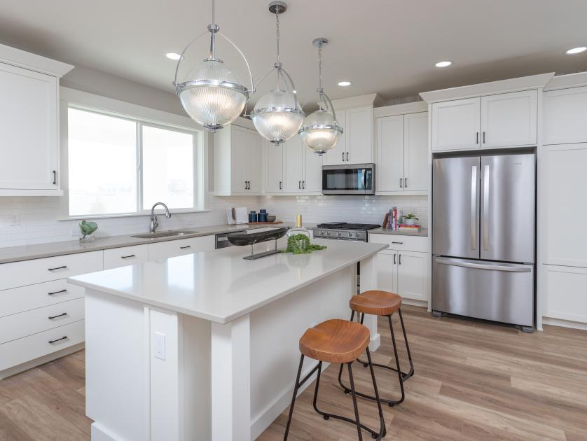 Large kitchen islands with seating space