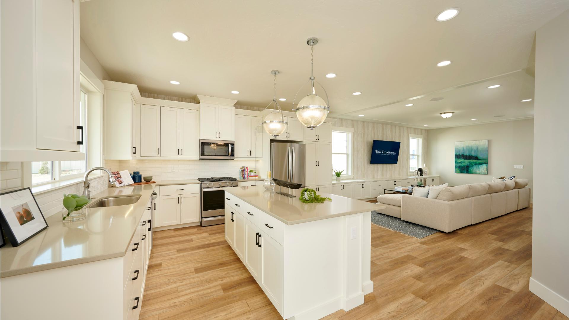Convenient kitchens with ample counter and cabinet spaces