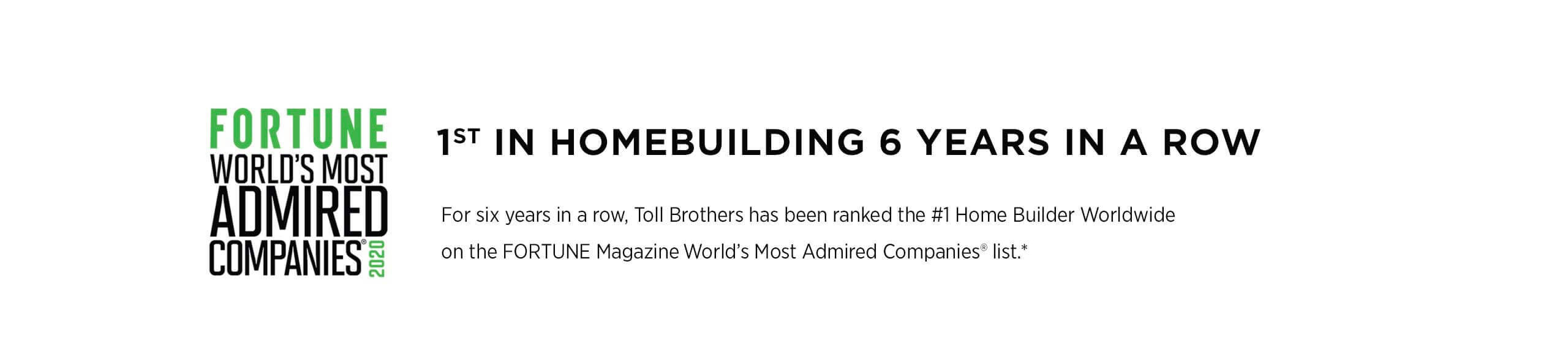 Fortune Magazine's most admired home builder