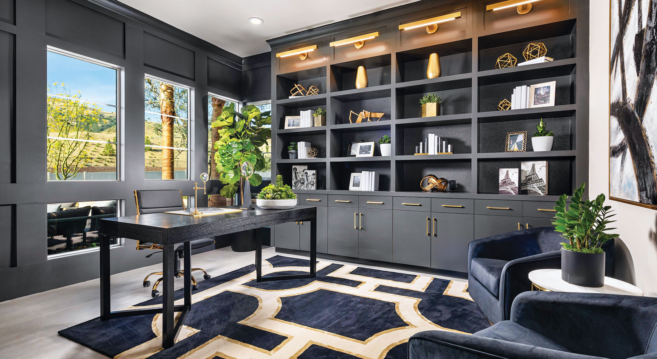 Hillcrest at Porter Ranch decorated model with large home office