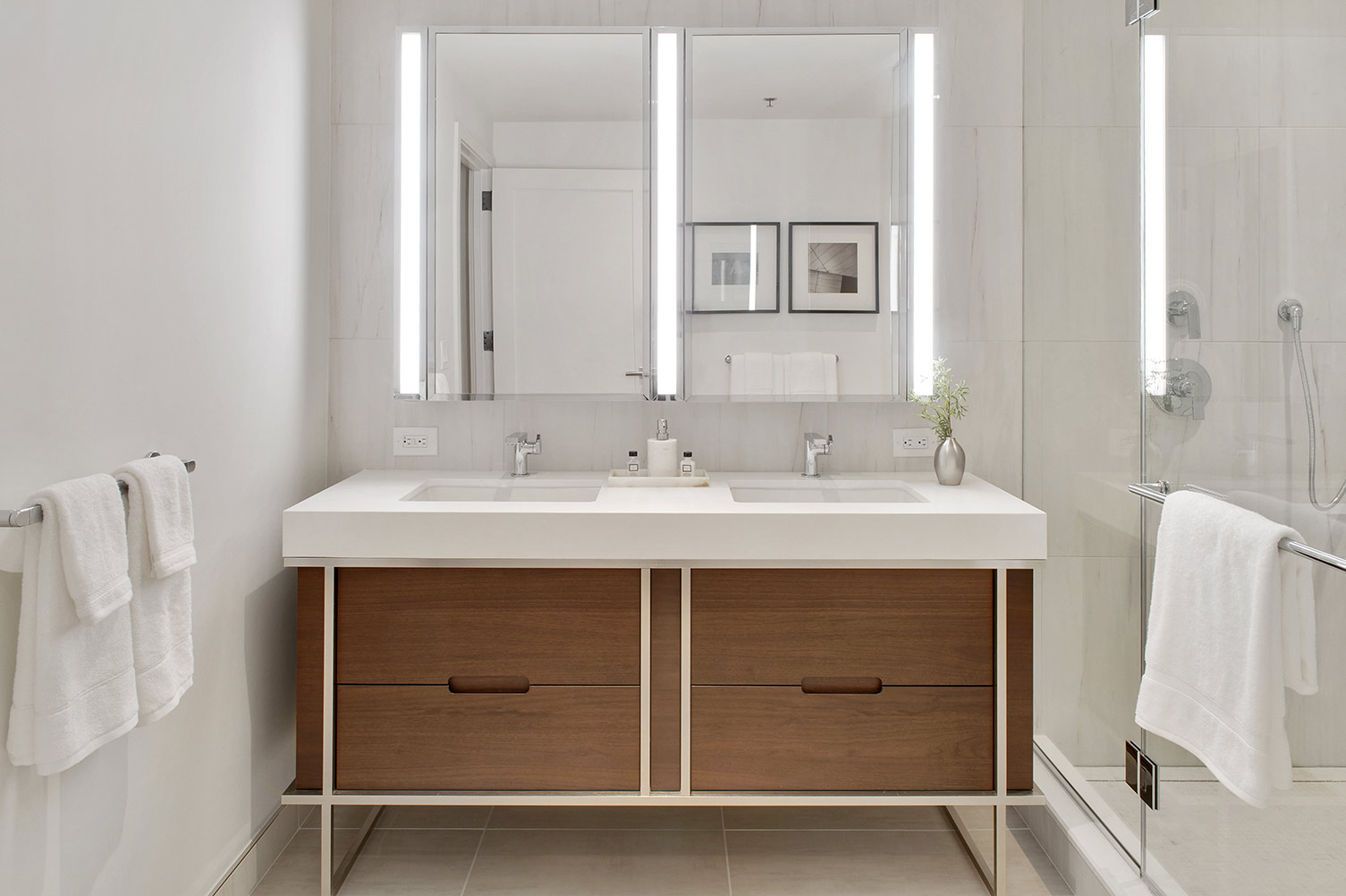 Large bathroom with dual sink