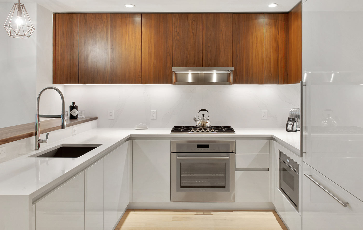 Kitchen with butcher block island