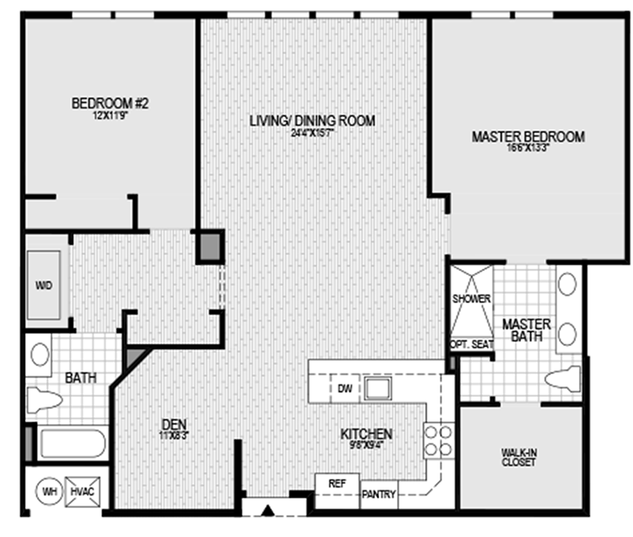 2 bedroom 2 bath with den floor plan for 2 bed 2 bath
