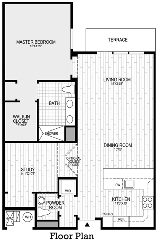 1 Bedroom, 1 Bath with Den - Floor Plan