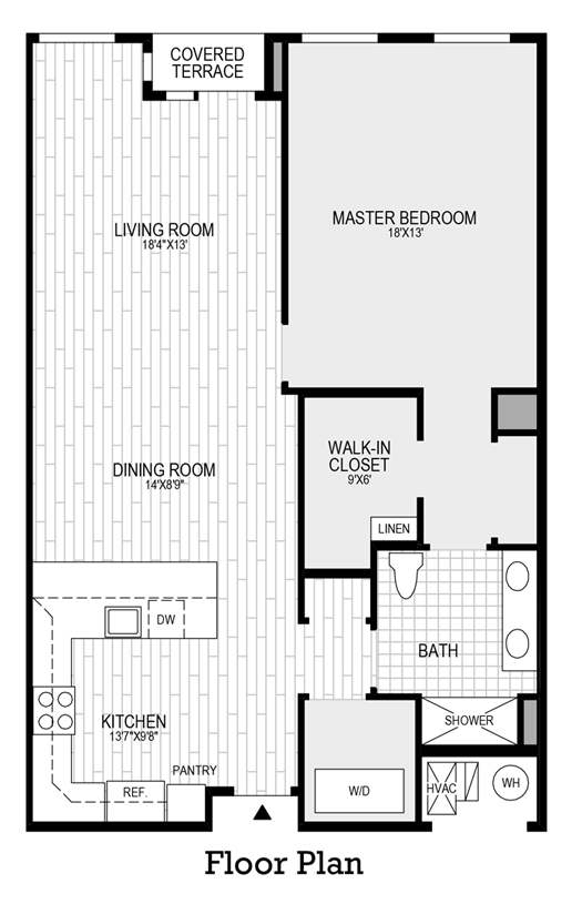 1 Bedroom, 1 Bath - Floor Plan