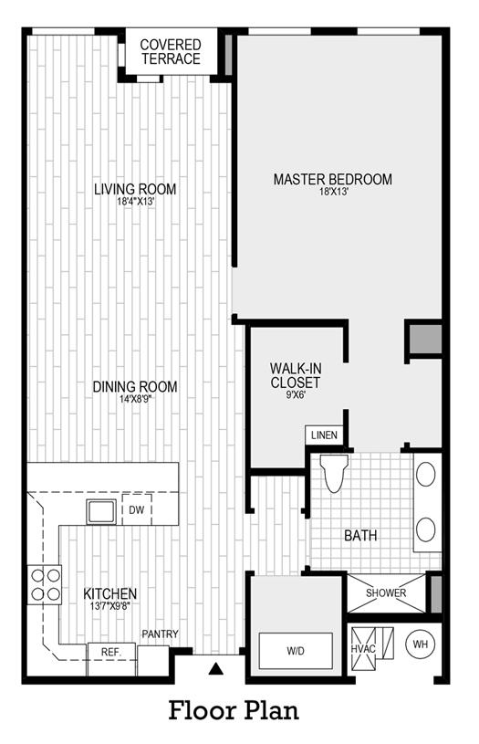 1 Bedroom, 1 Bath - Floor Plan