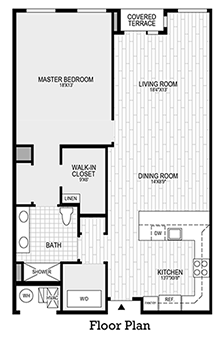 1 Bedroom, 1 Bath - Main Floor Plan