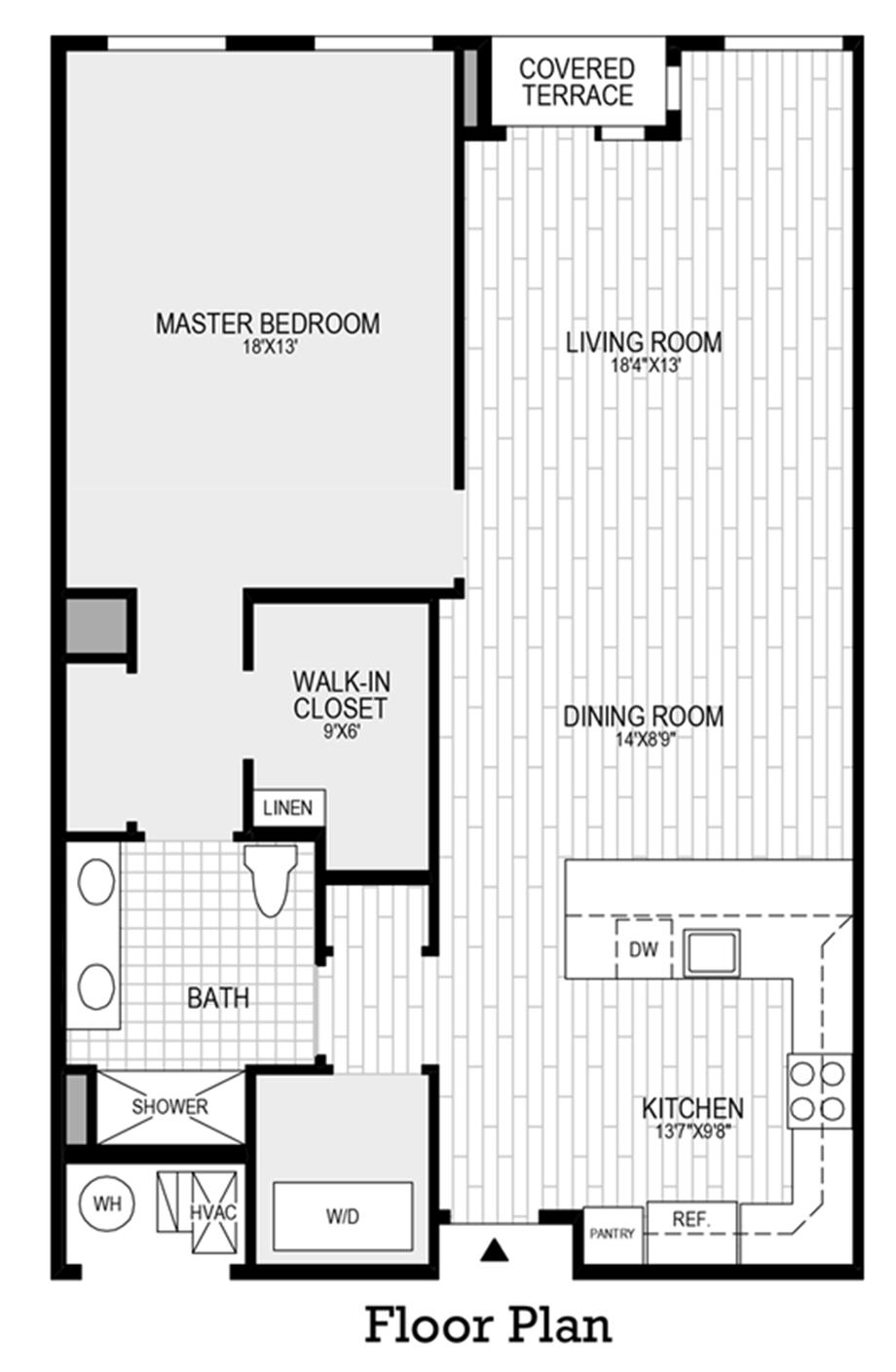 1 Bedroom, 1 Bath Floor Plan