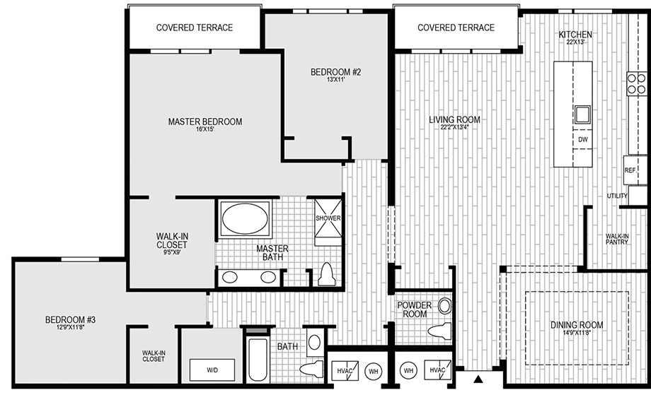 3 Bedroom, 3 Bath Floor Plan