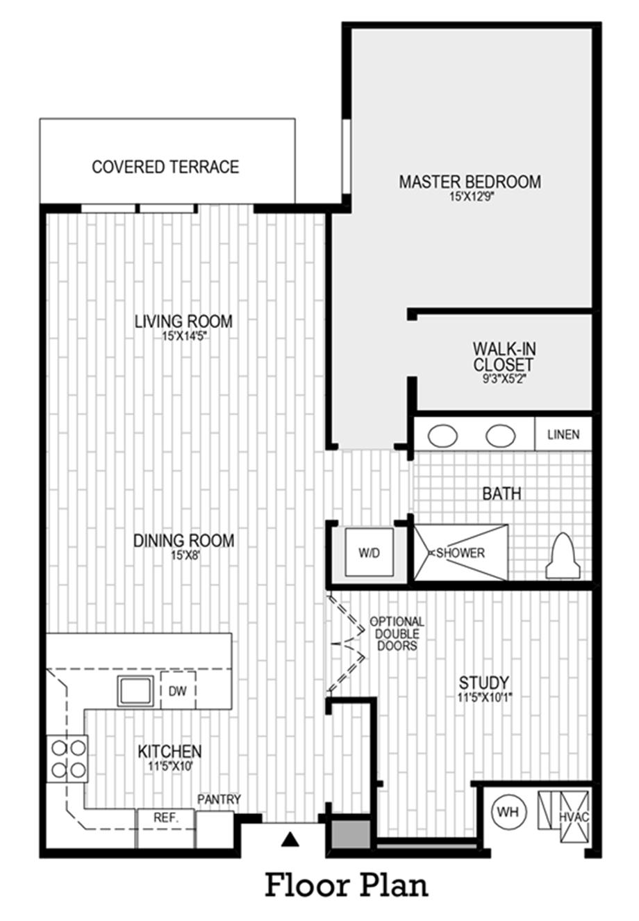 1 Bedroom, 1 Bath with Den Floor Plan