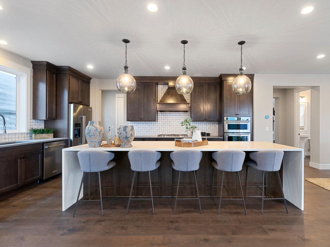 Stylish kitchen with island seating for five