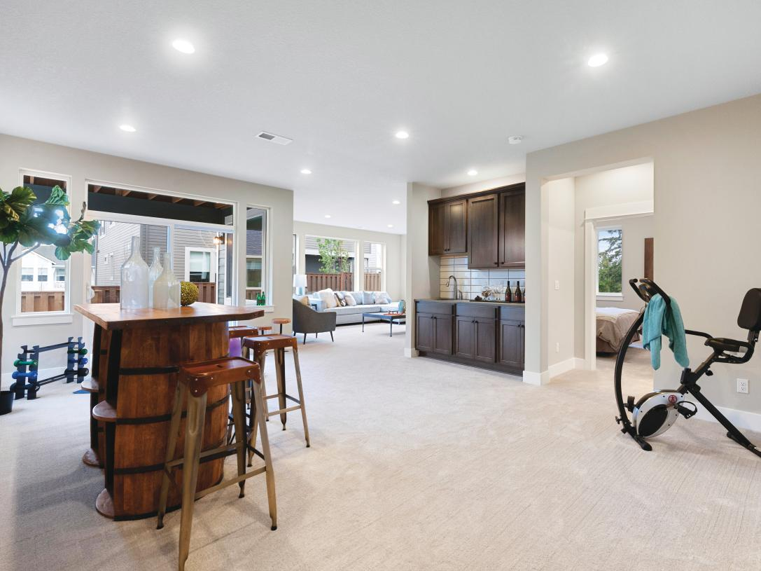 Large basement with bedroom and bath provides flexible living options