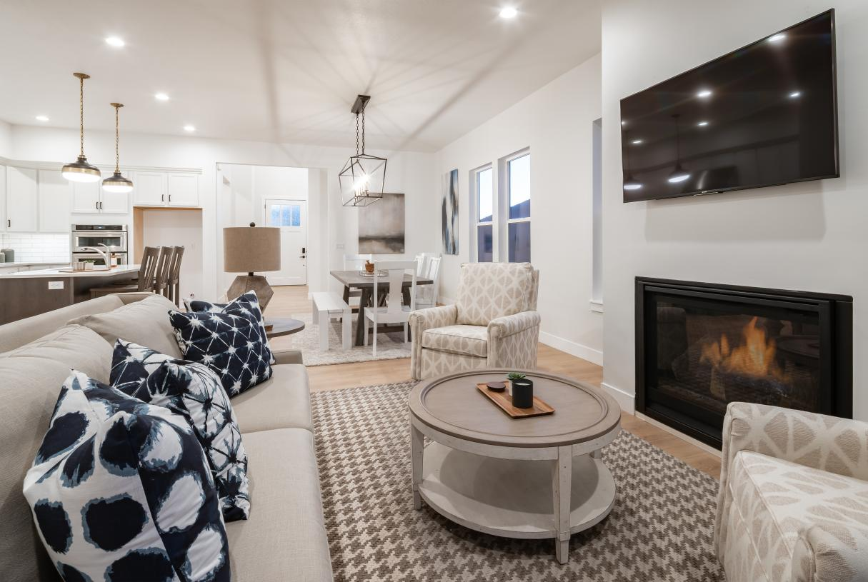 Spacious great rooms with optional cozy fireplaces