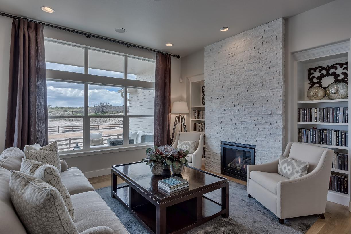 Cozy up by the fireplace in the great room