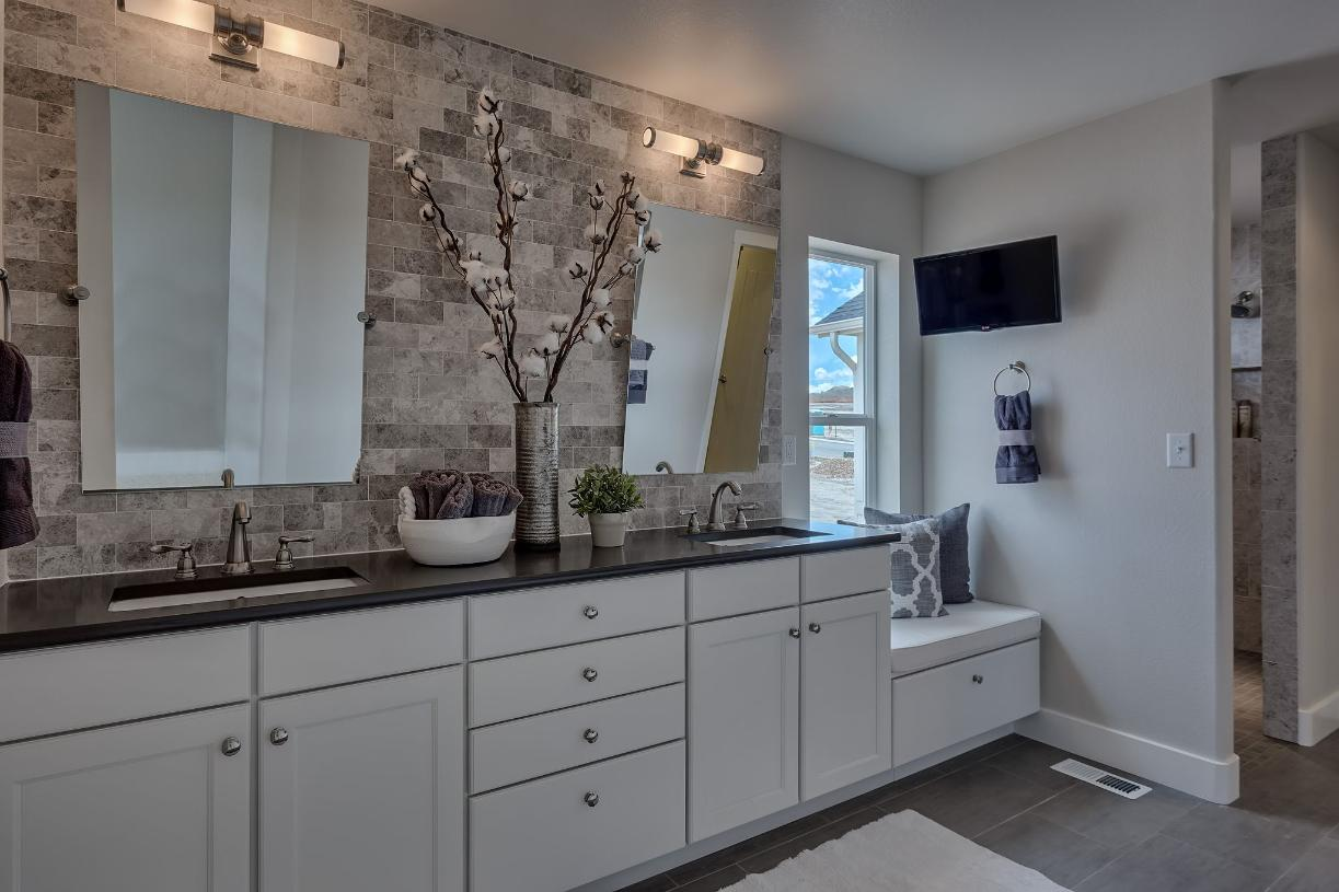 Desirable dual sink vanity provides space to get ready for the day