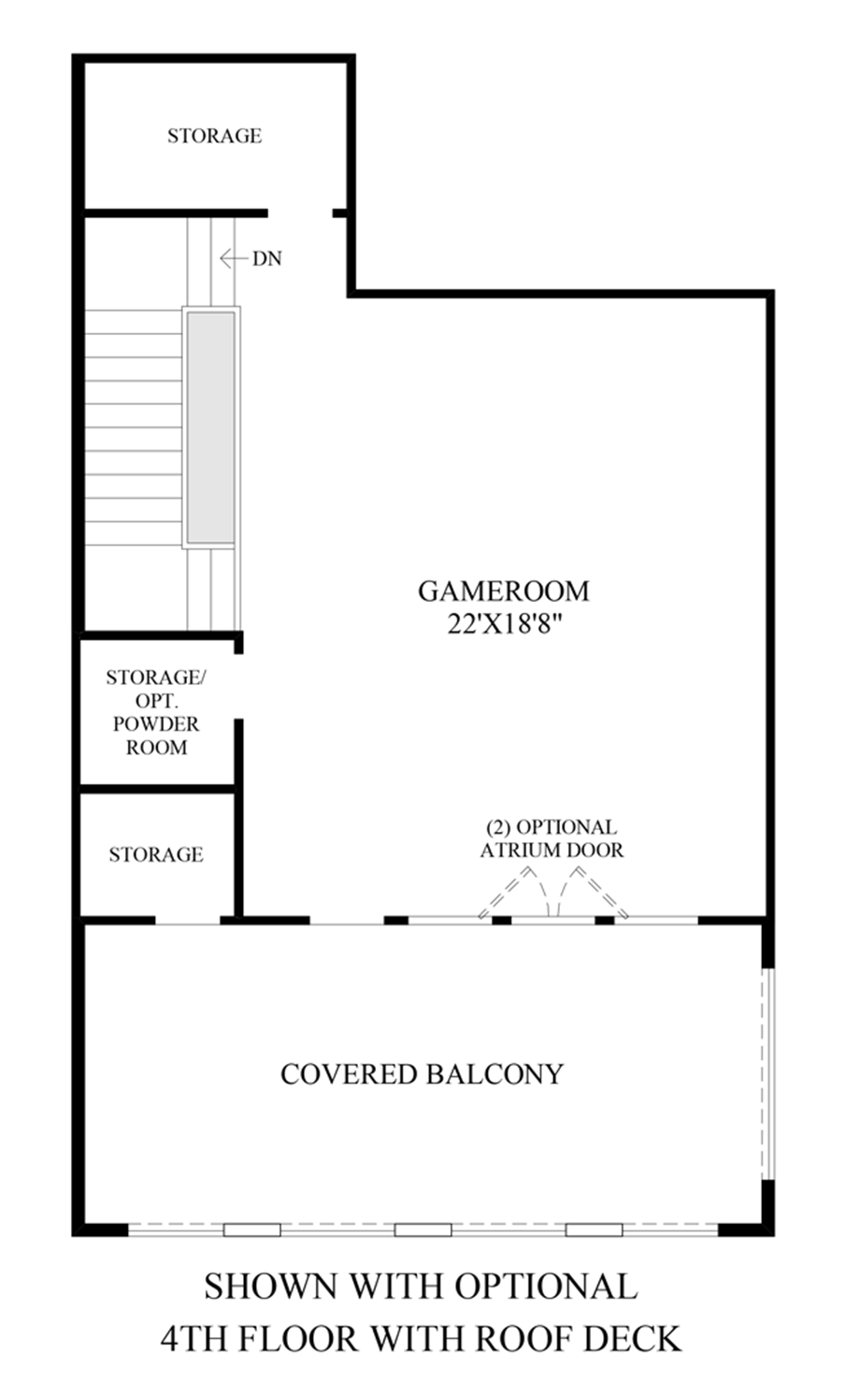 Optional 4th Floor with Roof Deck Floor Plan