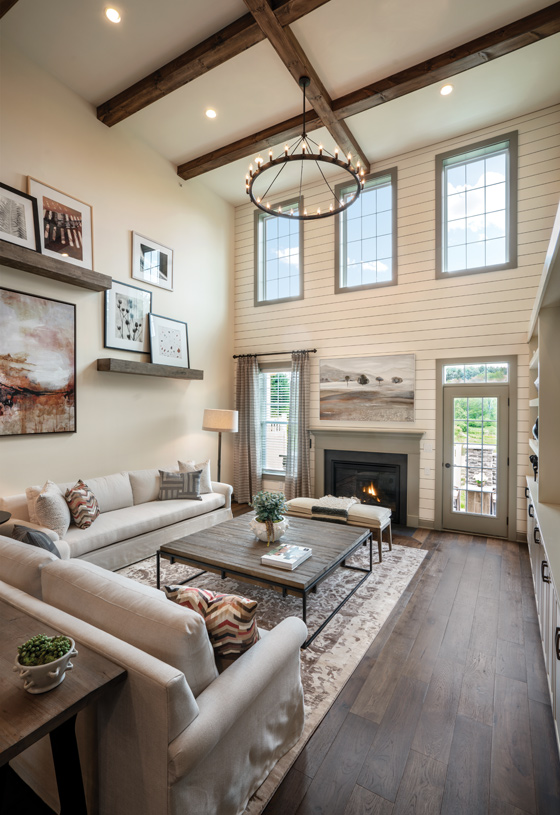 Two-story great room with beam ceiling