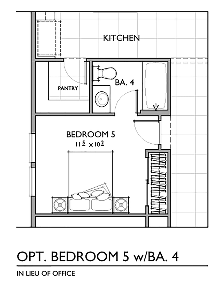 Optional Fifth Bedroom with Bath Floor Plan