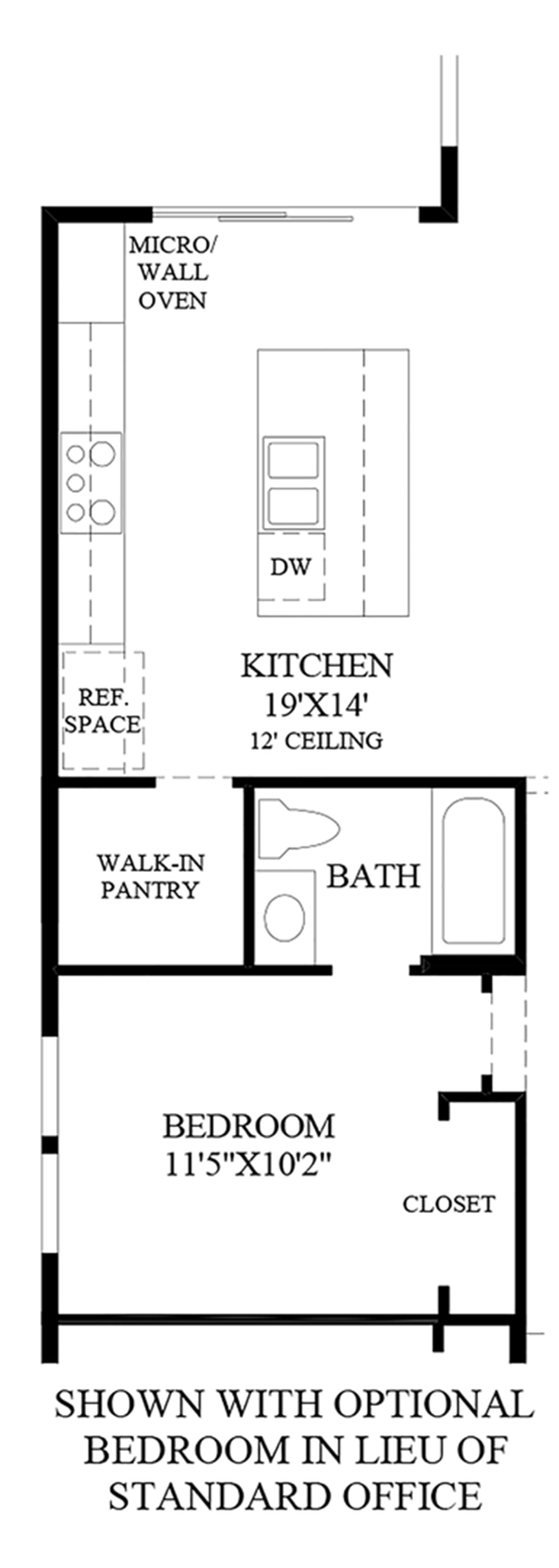 Optional Bedroom in lieu of Standard Office Floor Plan