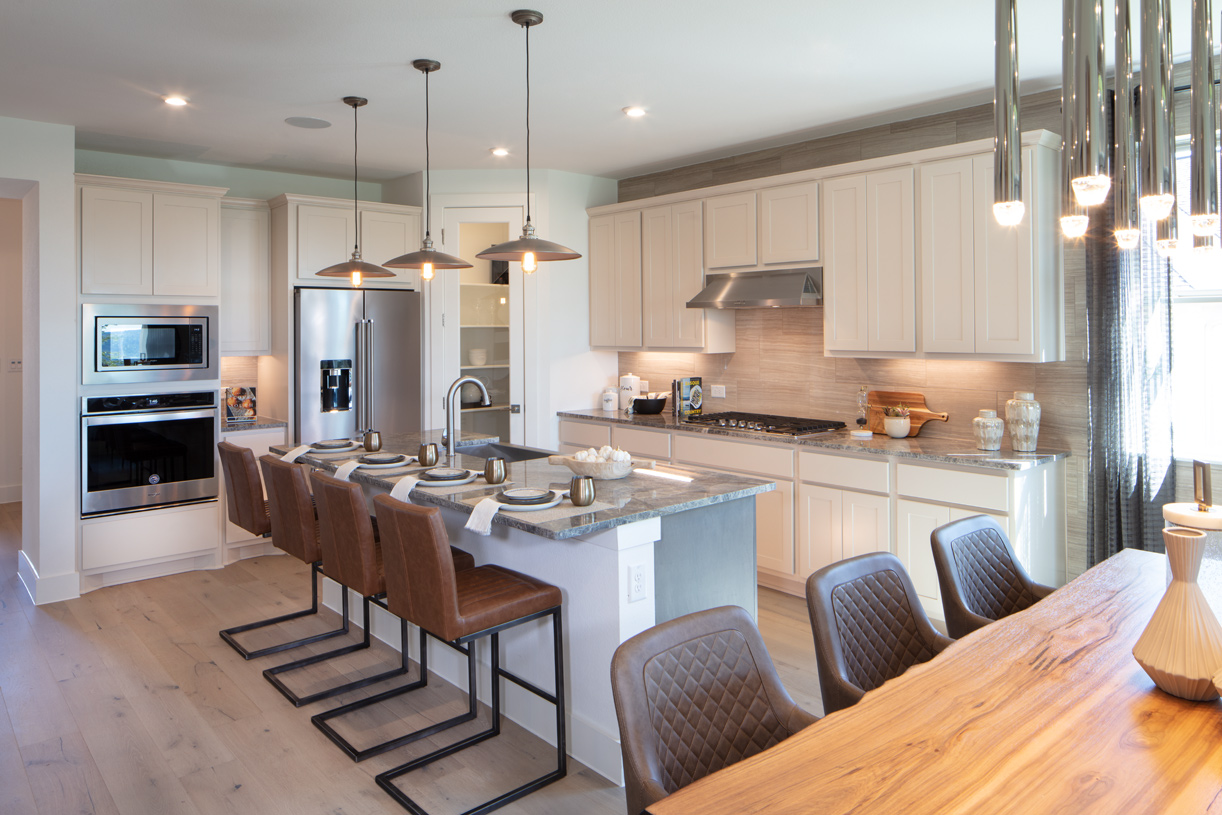 Well-designed kitchen equipped with large center island