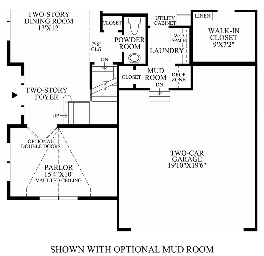 Optional Mud Room Floor Plan