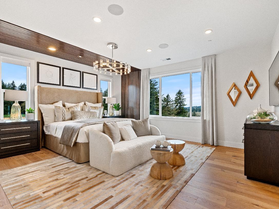 Bright primary bedroom suite