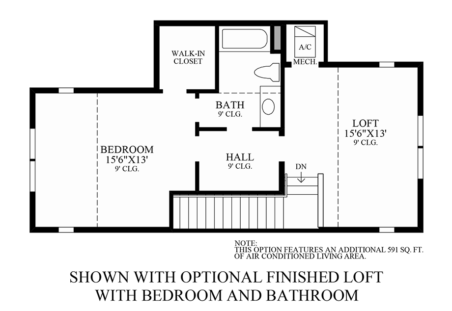 Optional Finished Loft with Bedroom and Bath Floor Plan