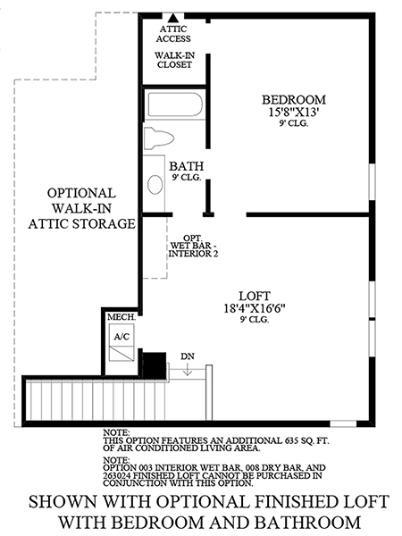 Optional Finished Loft with Bedroom and Bathroom