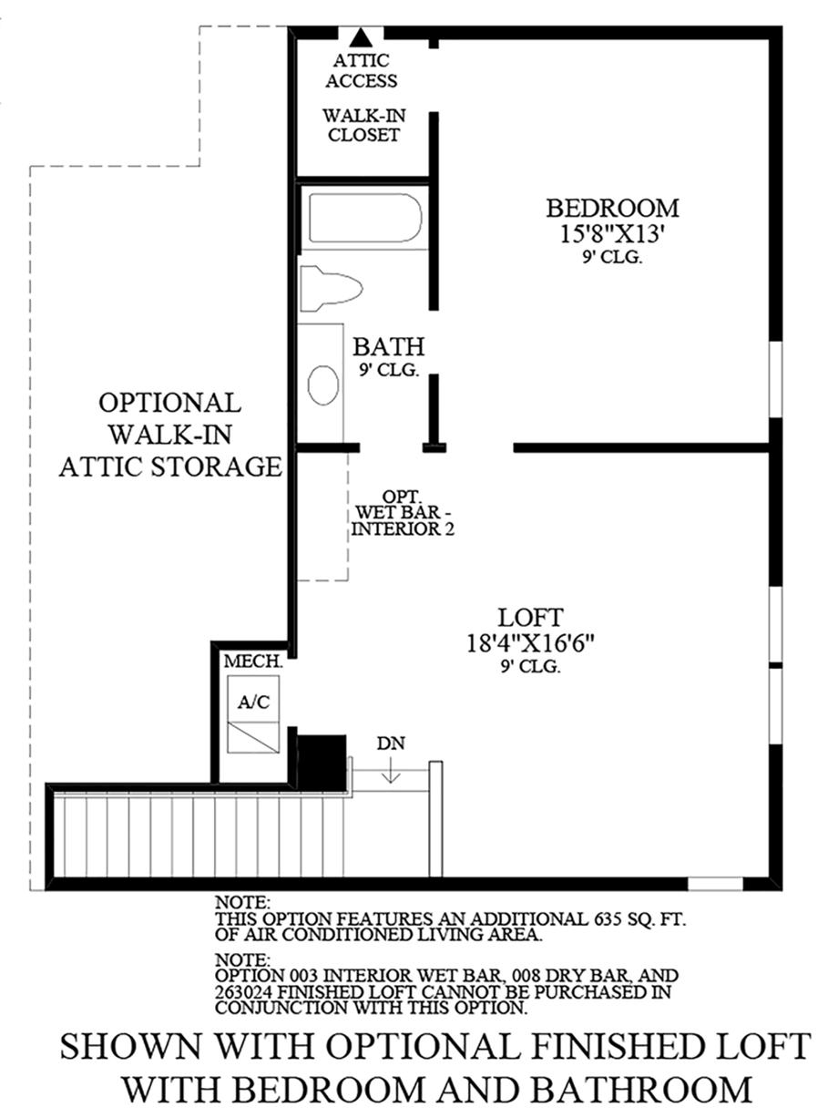 Optional Finished Loft with Bedroom and Bathroom Floor Plan