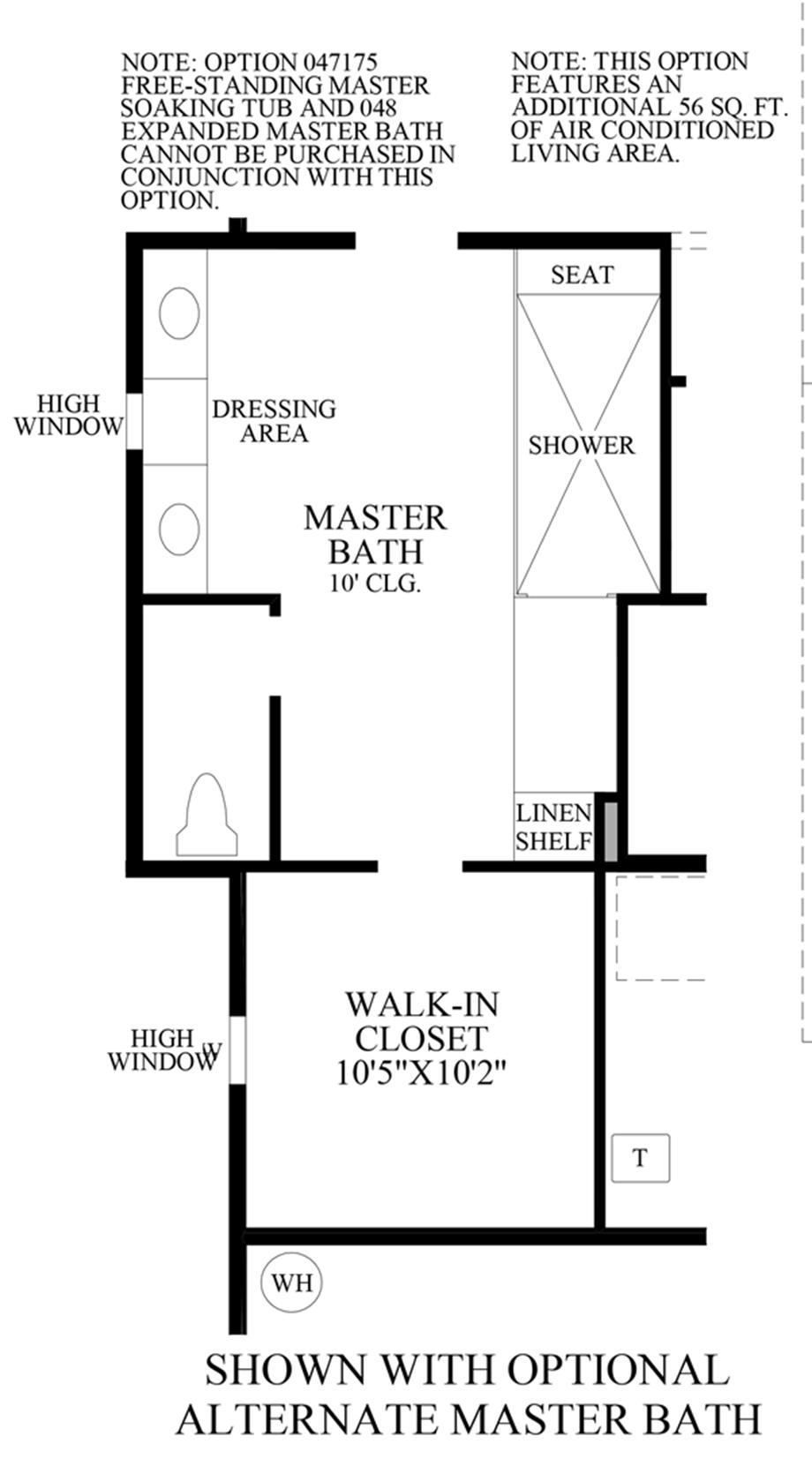 Optional Alternate Master Bathroom Floor Plan
