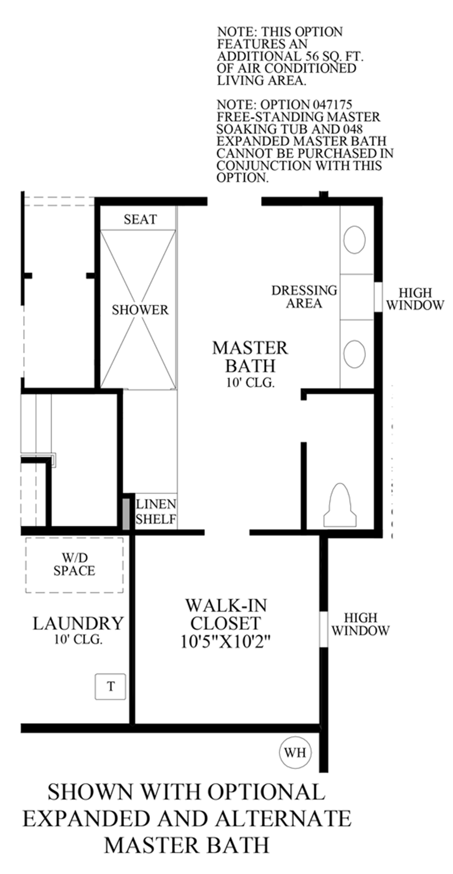 Optional Expanded & Alternate Master Bath Floor Plan