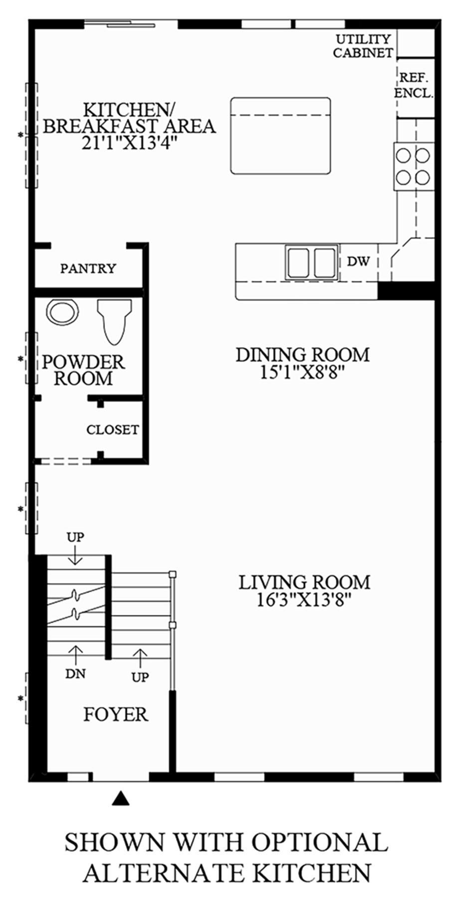 Optional Alternate Kitchen Floor Plan