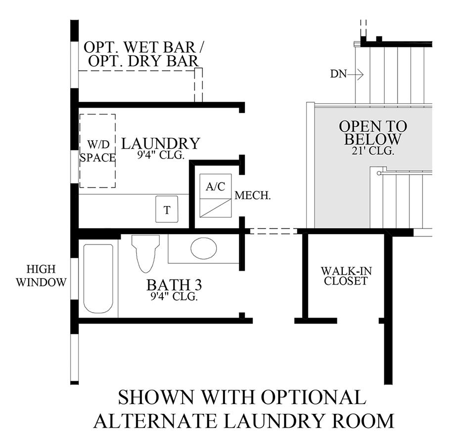 Optional Alternate Laundry Room Floor Plan