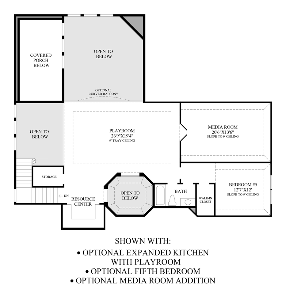 Optional Expanded Kitchen w/ Playroom, 5th Bedroom & Media Room Addition Floor Plan
