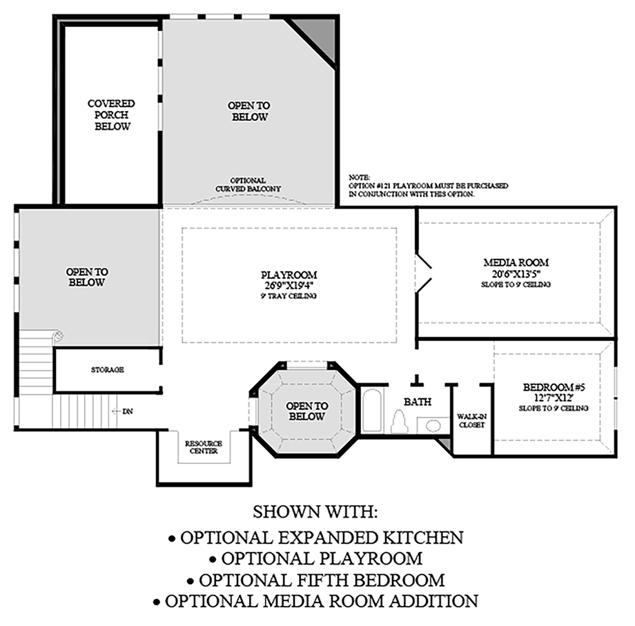 Optional Expanded Kitchen/Playroom/Fifth Bedroom/Media Room Addition Floor Plan