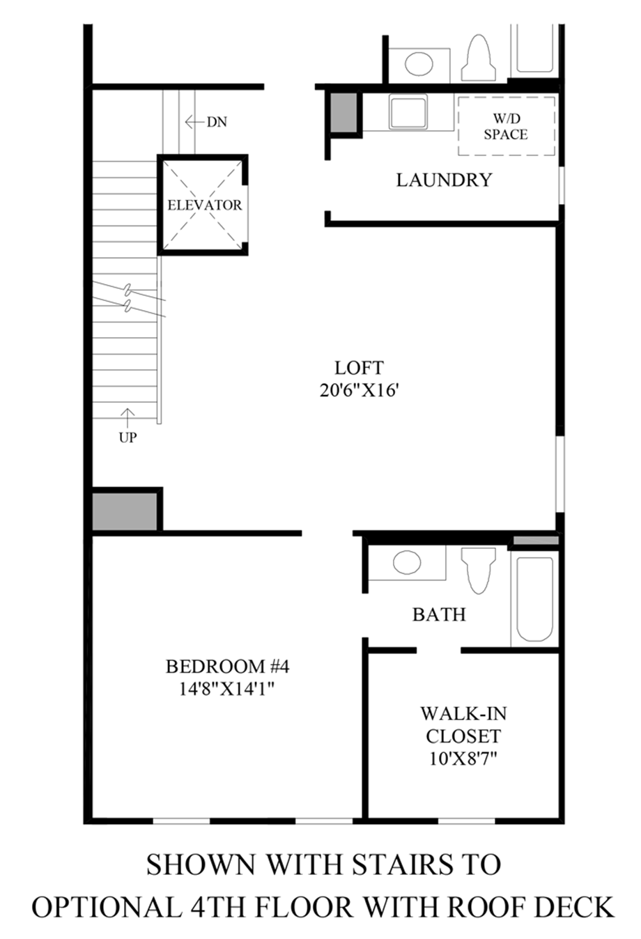 Optional Stairs to 4th Floor w/ Roof Deck Floor Plan