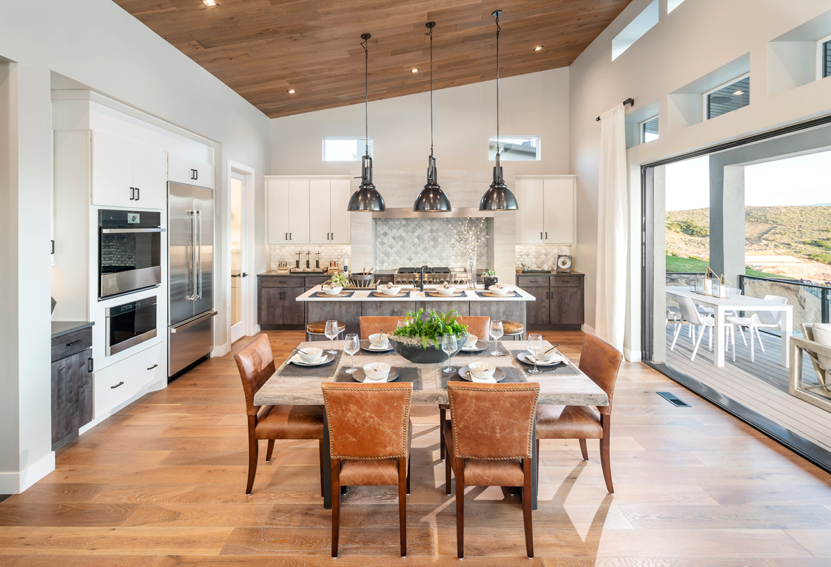 Open concept floor plan with casual dining area adjacent to kitchen