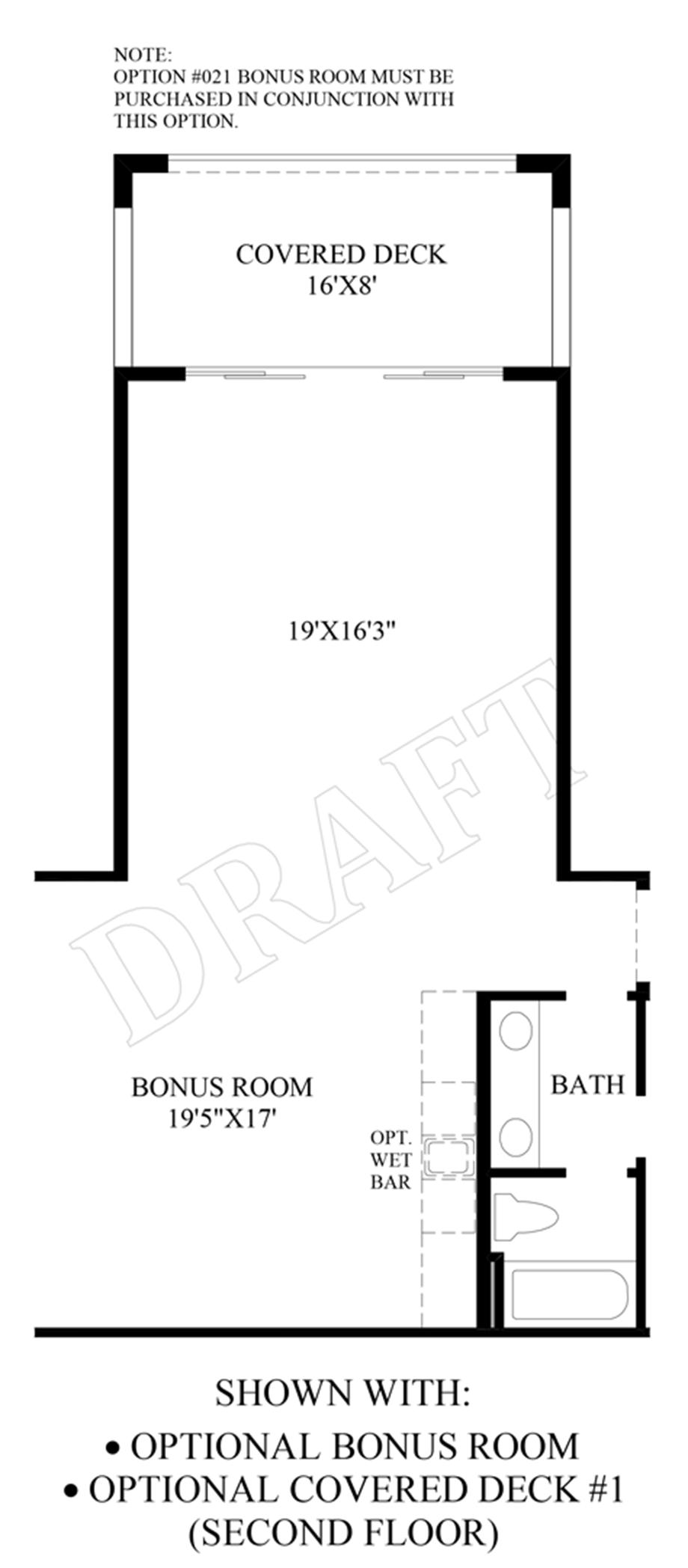 Optional Bonus Room & Covered Deck (2nd Floor) Floor Plan
